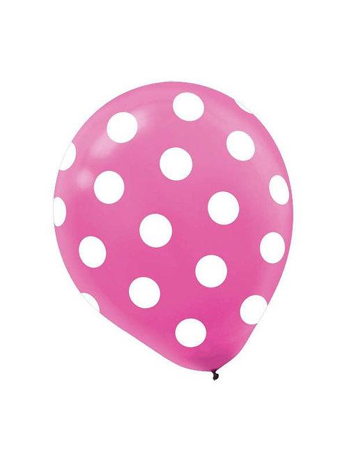 11 in Pink/White polka dot balloon