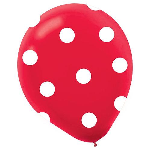 11 in Red/White polka dot balloon