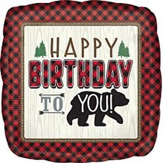 "18"" foil Balloon Bear Buffalo Plaid"