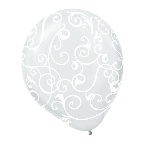 11 in Clear/White  Scroll Print balloon
