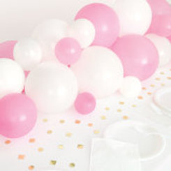 Pink White & Gold Balloon Garland Table Runner with Foil Confetti Cutouts