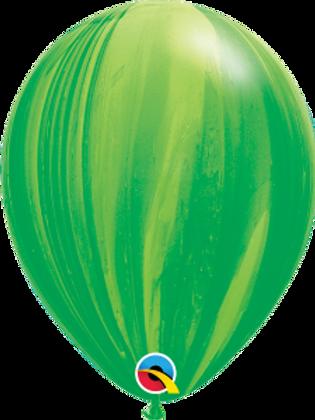Agate Green Swirl Latex 11 inch with helium