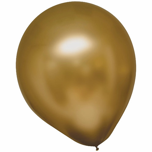 11 in Yellow Gold Chrome latex balloon