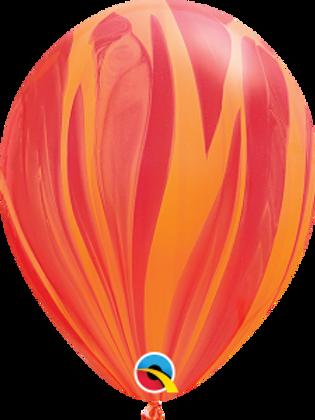 Agate Red/Orange Swirl Latex 11 inch with helium