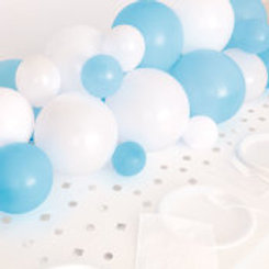 Blue White & Silver Balloon Garland Table Runner with Foil Confetti Cutouts