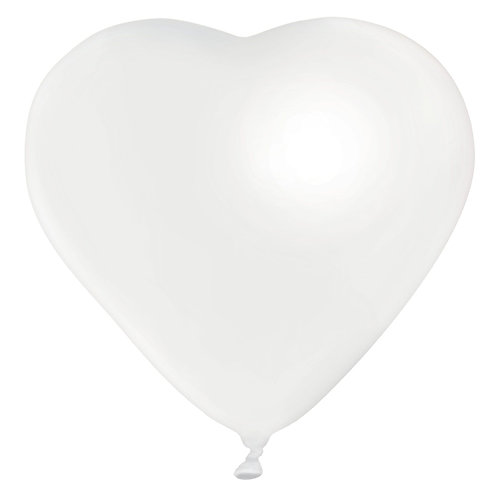 11 White Heart Latex filled with helium