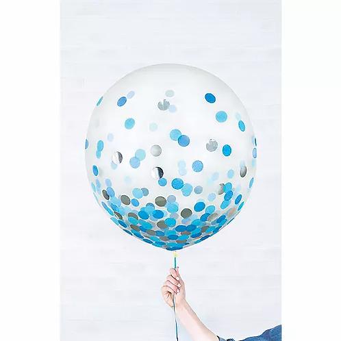 24 inch Latex with confetti blue/silver