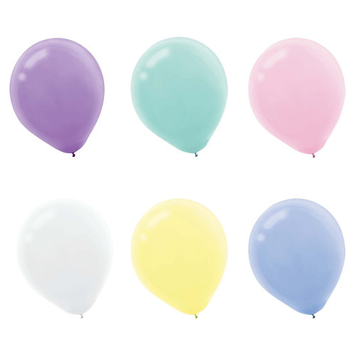 6 assorted pastel 11 inch helium filled balloons