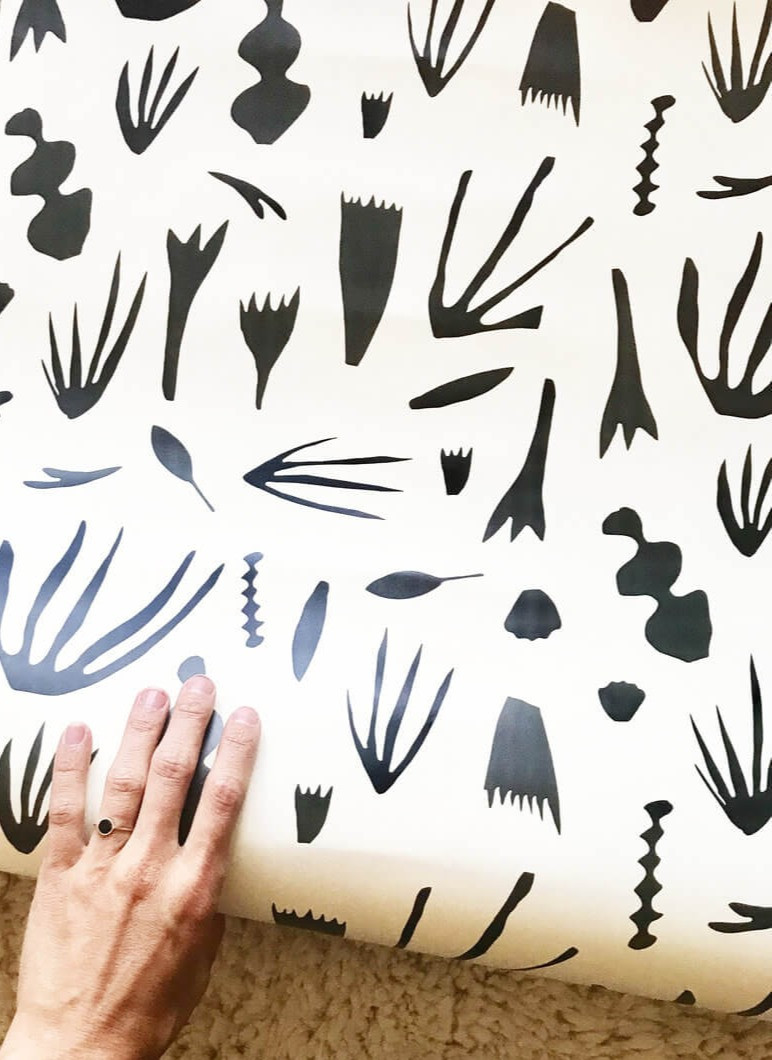 Sustainable Design - Wallpaper kate zaremba company Reef Wallpaper Charcoal on Off-White