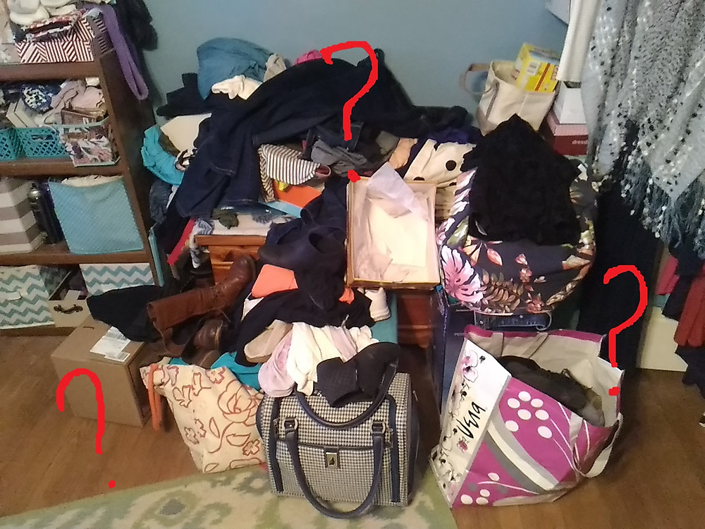 Cluttered Bedroom with Question Marks Overlaid