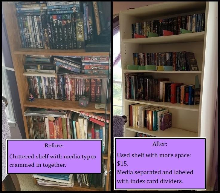 Before and After photos of disorganized/organized bookshelf