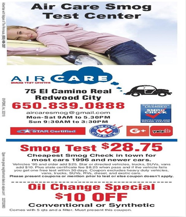 Smog Test Center Redwood City CA Air Care Smog Test Center