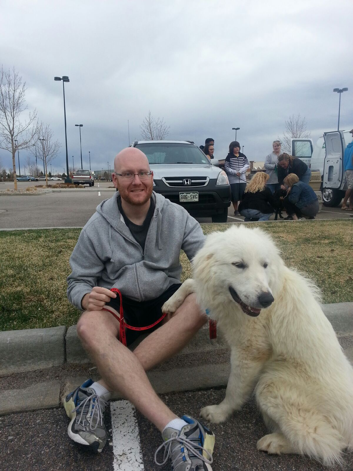 Levi the Pyr and his new dad