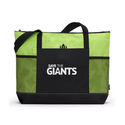 "20"" x 14"" Large Zippered Tote Bag - GREEN"