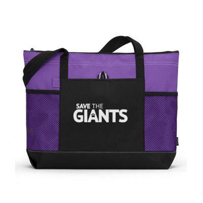 "20"" x 14"" Large Zippered Tote Bag - PURPLE"