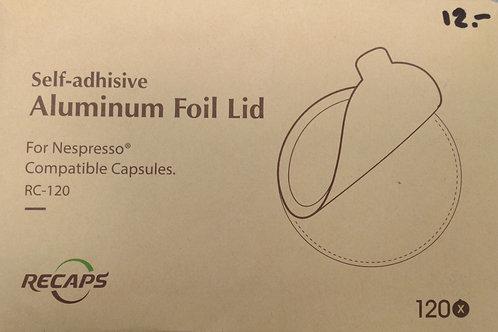 "120 Adésives aluminium pour capsule à café inox ""Nespresso"""