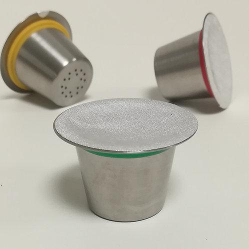 """Capsule à café inox """"Nespresso"""" avec couvercle en aluminium - lot de 6 pièces"""