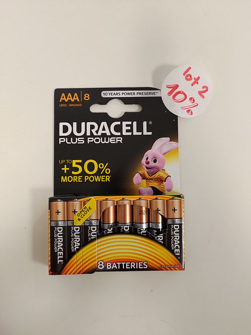 Pile Duracell - AAA - lot 8 pièces