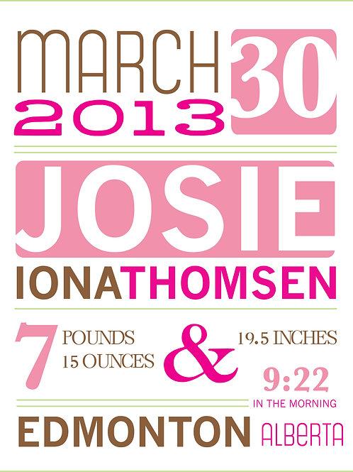 Josie Baby Announcement Print