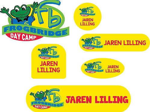 Yellow Frogbridge Logo Name Labels - Camp Pack