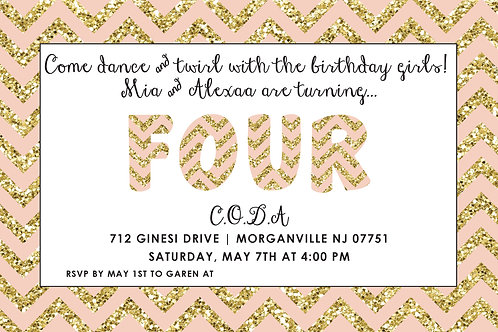 Gold & Pink Four Invite