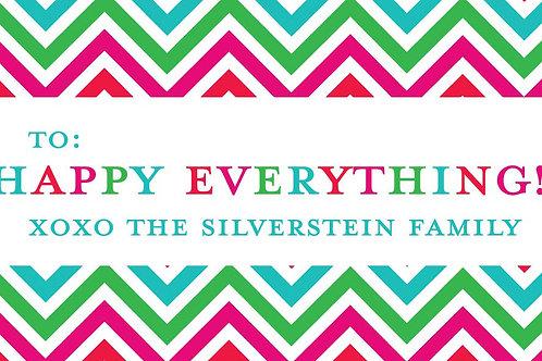 Happy Everything Chevron Gift Stickers