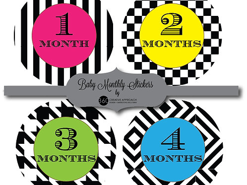 Retro Pattern Baby Monthly Stickers