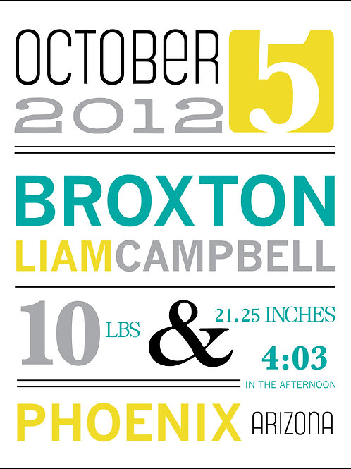 Broxton Baby Announcement Print
