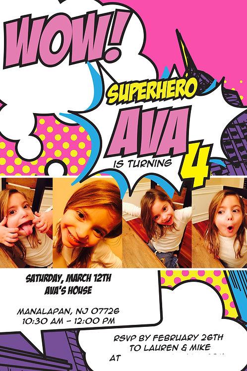 Girls Superhero Invite