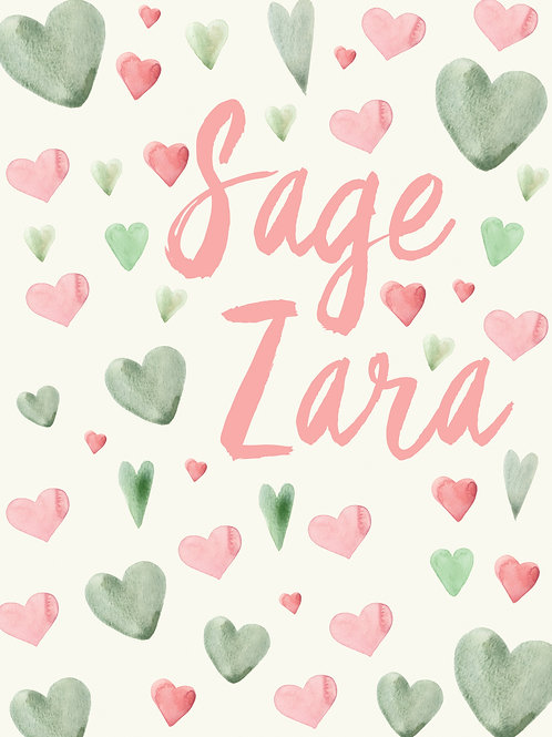 30x40 Personalized Super Soft Baby Blanket - Sage and Pink Hearts