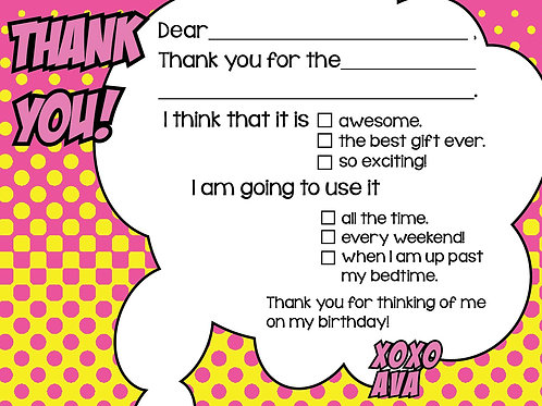 Girls Comic Fill-In Thank You Cards