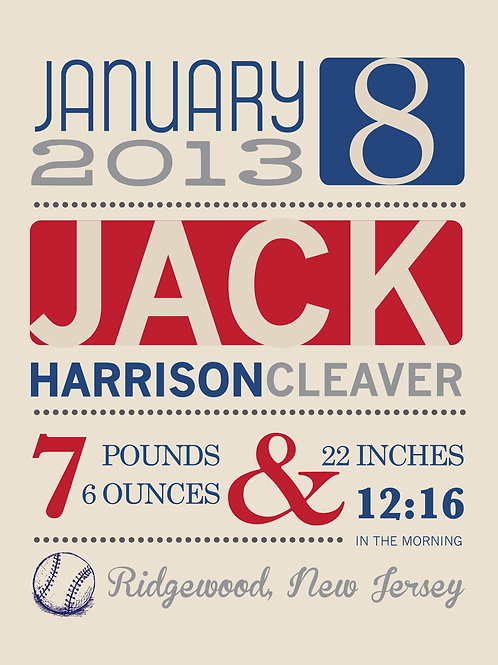 Jack Boy Baby Announcement Print