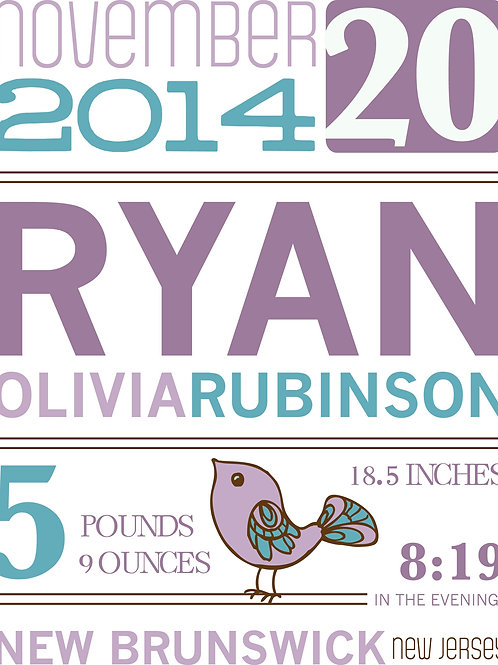 Ryan Girl Baby Announcement Print
