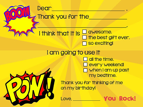 Boys Comic Fill-In Thank You Cards