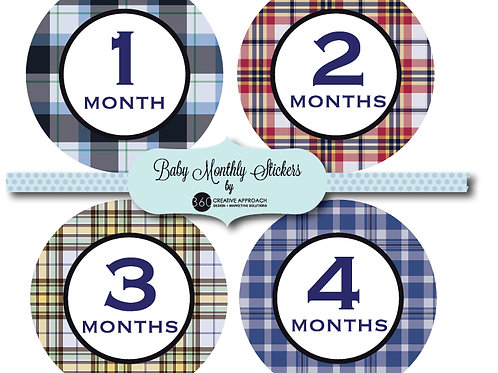 Madres Plaid Baby Monthly Stickers