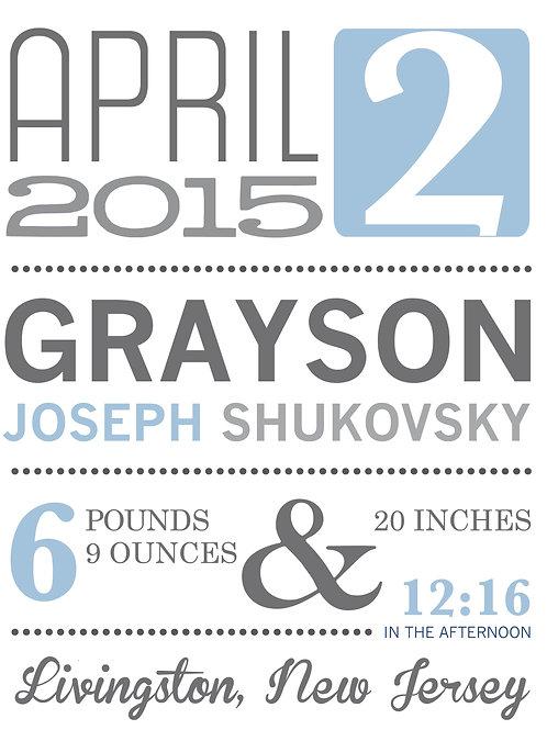 Grayson Boy Baby Announcement Print
