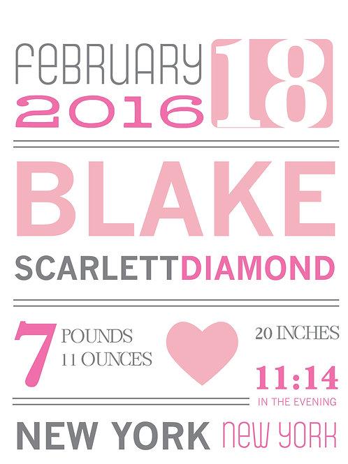 Blake Baby Announcement Print