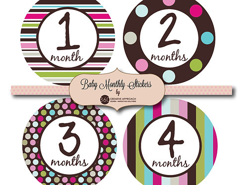Bright Pattern Baby Monthly Stickers
