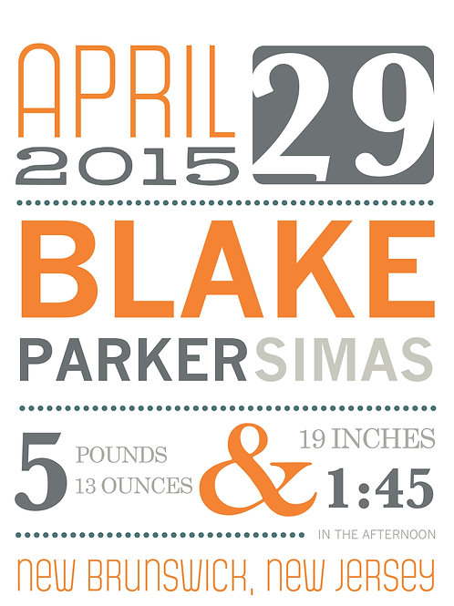Orange Blake Baby Announcement Print