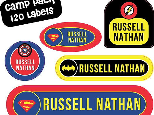Super Hero Name Labels - Camp Pack