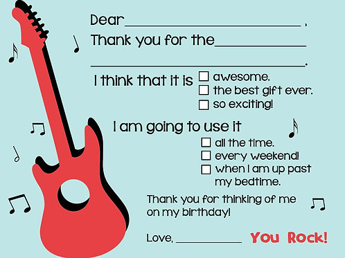 Rock N' Roll Fill-In Thank You Cards