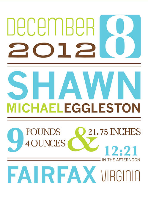 Shawn Boy Baby Announcement Print