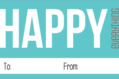 Happy Everything Aqua Gift Stickers