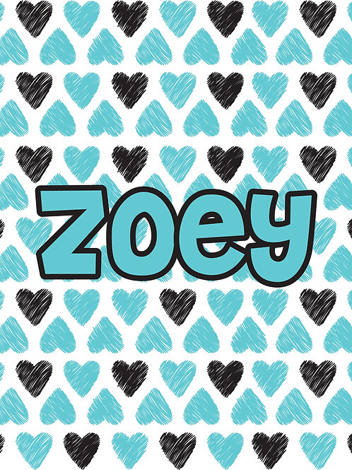 Personalized Super Soft Teal and Black Hearts Throw Blanket