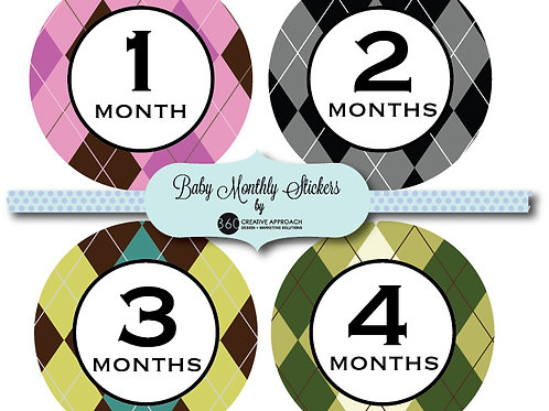 Large Plaid Baby Monthly Stickers