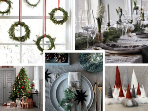 Swedish Christmas event theming kept simple with natural textures, and hints of red