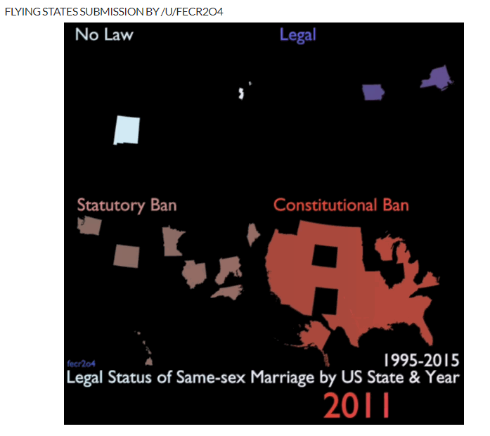 Static image of a gif where each US state is placed in a quadrant of the image based whether same-sex marriage was legal, had a constitutional banned, had a statutory banned, or had no law. The gif shows the states moving quadrants over a 20 year period until they all move to the Legal quadrant in 2015.