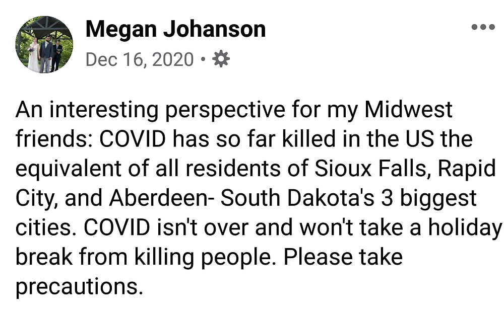 Screenshot of a Facebook post comparing the COVID deaths in the US to the three largest South Dakota cities.