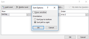 Screenshot of a step in the process of sorting a data table from left to right.