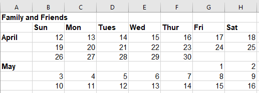Calendar table with dates for a few weeks before and after my due date.
